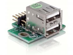 USB Pinheader Stecker an 2x USB 2.0 Buchse - oben, Delock® [41763]