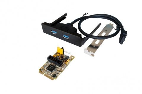 USB 3.0 Mini PCIe Karte mit 2-Ports (Renesas Chip-Set), Exsys® [EX-48010-2]