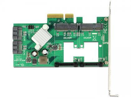 PCI Express Karte an Hybrid 2 x intern SATA 6 Gb/s + 2 x intern mSATA, Delock® [89372]