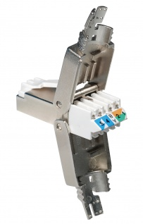 RJ45 Stecker Cat. 6A, STP, werkzeugfrei, für Verlegekabel AWG26 bis AWG23 und Patchkabel AWG26 bis AWG24, für Kabeldurchmesser von 6, 3 - 8, 0 mm