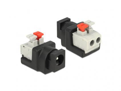 Adapter DC 5, 5 x 2, 1 mm Buchse an Terminalblock mit Drucktasten 2 Pin, Delock® [65524]