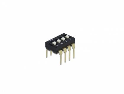 DIP-Schiebeschalter 4-stellig 2, 54 mm Rastermaß THT vertikal schwarz 2 Stück, Delock® [66107]