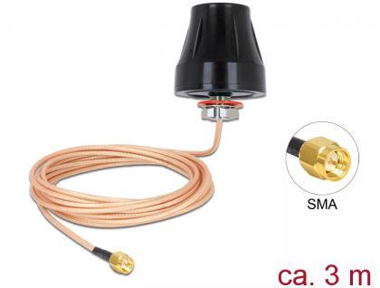 LTE Antenne SMA Stecker, 2dBi, starr, omnidirektional mit Anschlusskabel (RG-316U, 3m) outdoor schwarz, Delock® [89589]