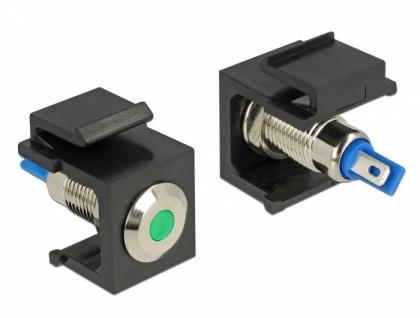 Keystone LED grün 6 V flach, schwarz, Delock® [86463]