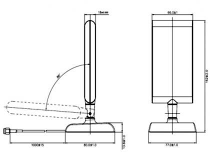 Antenne LTE SMA Band 1/3/7/20 2 ~ 4 dBi direktional, Gelenk schwarz, Standfuß, Delock® [88992]