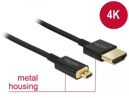 Kabel High Speed HDMI mit Ethernet - HDMI-A Stecker an HDMI Micro-D Stecker 3D 4K 2 m Slim Premium, Delock® [84783]