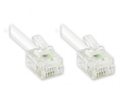 RJ11 Western Verbindungskabel, 6p4c, weiß, 10m, Good Connections®