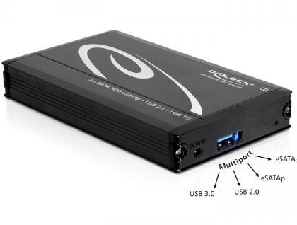 Gehäuse 2, 5 SATA HDD an Multiport USB3.0 + eSATAp 15mm, Delock® [42492]
