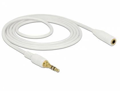 Klinkenverlängerungskabel 3, 5 mm 3 Pin Stecker zu Buchse, weiß, 2m, Delock® [85579]