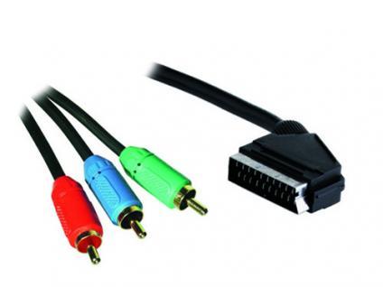 kabelmeister® Anschlusskabel Scart Stecker an 3x Cinch Stecker (RGB), 3m