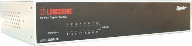 Longshine® LCS-GS8116-A, 16-port Desktop Gigabit Switch, 16 x 1000Mbit/s