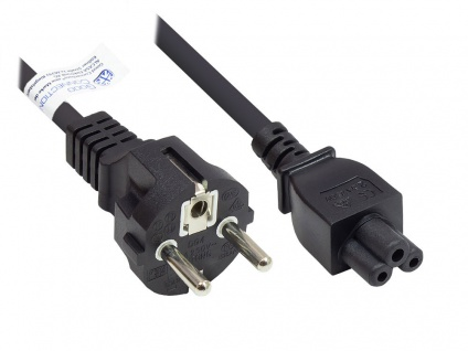 Netzkabel Schutzkontakt-Stecker Typ E+F (CEE 7/7, gerade) an C5 (gerade) für Notebook, schwarz, 0, 75 mm², 1, 8 m, Good Connections®