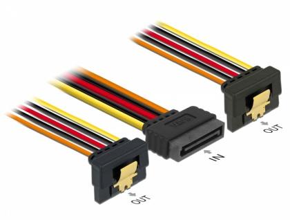 Kabel SATA 15 Pin Strom Stecker mit Einrastfunktion an 2 x SATA 15 Pin Strom Buchse 0, 3 m, Delock® [60159]