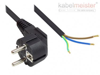 kabelmeister® Netzkabel Schutzkontakt-Stecker Typ E+F (CEE 7/7, gewinkelt) an abisolierte Enden, schwarz, 1, 00 mm², 3 m