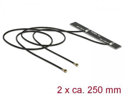 WLAN Doppelantenne 2x MHF IV / HSC MXHP32 kompatibler Stecker 802.11 ac/a/h/b/g/n 5dBi 250mm PCB intern Klebemontage, Delock® [89571]