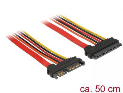 Verlängerungskabel SATA 6Gb/s, 22 Pin Stecker an SATA 22 Pin Buchse (3, 3V + 5V + 12V), 0, 5m, Delock® [84920]