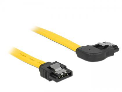 Kabel SATA 6 Gb/s Stecker gerade an SATA Stecker rechts gewinkelt 70 cm gelb Metall, Delock® [82830]