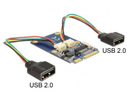 Modul MiniPCIe I/O full size, Typ A Buchse, 2x USB 2.0, Delock® [95242] - Vorschau