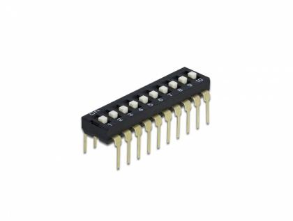 DIP-Schiebeschalter 10-stellig 2, 54 mm Rastermaß THT vertikal schwarz 5 Stück, Delock® [66117]