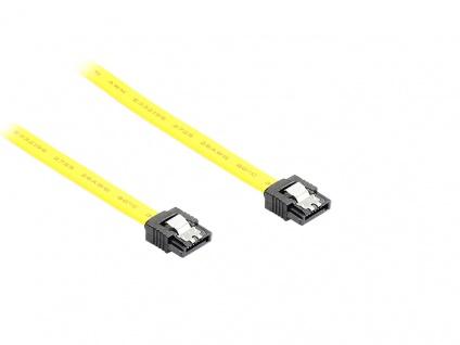 kabelmeister® SATA 6 Gb/s Anschlusskabel mit Metallclip, 0, 70m, gelb