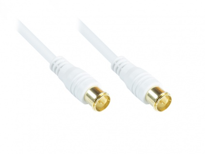 kabelmeister® F-Quick SAT Antennenkabel, F-Quick Stecker beidseitig (vergoldet), 2x geschirmt (80 dB / 75 Ohm), CCS, weiß, 1, 5m