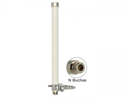 WLAN Antenne 802.11 ac/a/h/b/g/n 6 ~ 8 dBi 280 mm omnidirektional Mastmontage starr weiß outdoor, Delock® [89440]