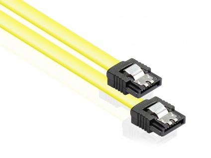 Anschlusskabel SATA 6 Gb/s mit Metallclip, gelb, 0, 7m, Good Connections®
