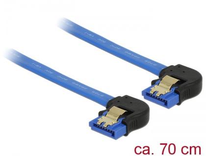 Kabel SATA 6 Gb/s Buchse unten gewinkelt an SATA Buchse unten gewinkelt, mit Goldclips, blau, 0, 7m, Delock® [85098]