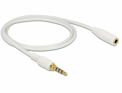 Klinkenverlängerungskabel 3, 5 mm 4 Pin Stecker an Buchse, weiß, 1m, Delock® [85630]