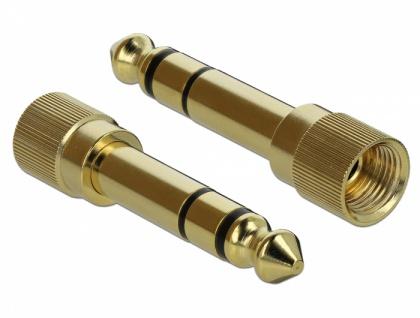Spiralkabel Verlängerung 3, 5 mm 3 Pin Klinkenstecker an Klinkenbuchse mit 6, 35 mm Schraubadapter, schwarz, 5 m, Delock® [85834]
