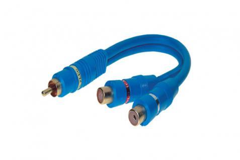 kabelmeister® Cinchstecker auf 2 Cinchkupplung, doppelt geschirmt, blau, 0, 2m