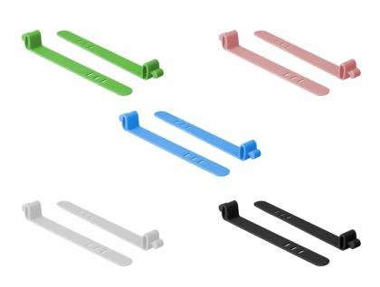 Silikon-Kabelbinder wiederverwendbar, 10 Stück, farbig sortiert, Delock® [18828]