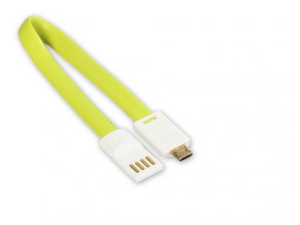 kabelmeister® Anschlusskabel USB 2.0 Stecker A an Stecker Micro B, grün, 22cm, extrakurz mit Magnet