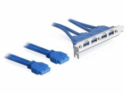 Slotblech USB 3.0 4x Port extern an 2x Pinheader intern, Delock® [82974]