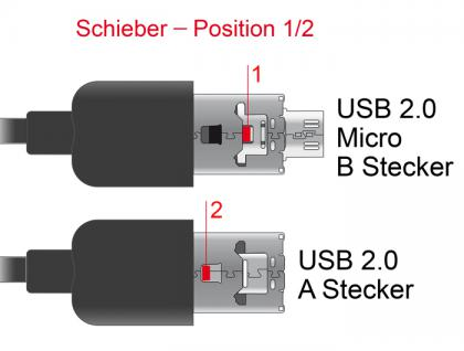 Kabel USB 2.0 Power Sharing Typ A + Micro-B Kombo Stecker an USB 2.0 Typ Micro-B Stecker OTG 1m, Delock® [83614]