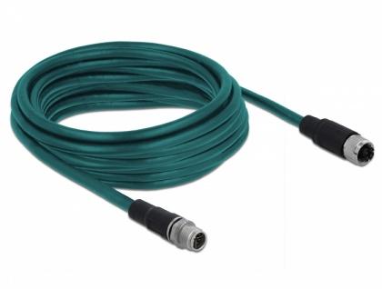 Netzwerkkabel M12 8 Pin X-kodiert Stecker an Buchse TPU, wasserblau, 5 m, Delock® [85424]