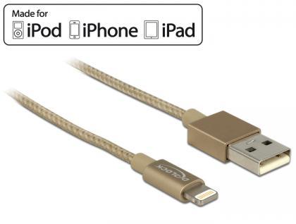 USB Daten- und Ladekabel für iPhone™, iPad™, iPod™ gold 1m, Delock® [83770]