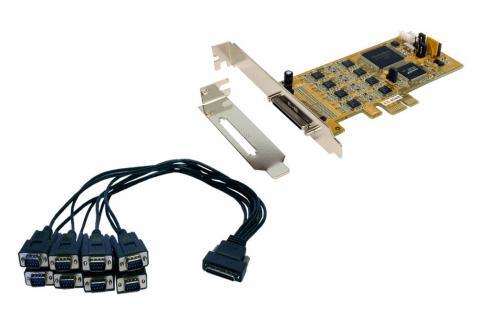 8S Seriell RS-232/422/485 PCIe Karte, inkl. LP Bügel und Octopus Kabel, Treiber für Linux/SCO-Unix (SystemBase), Exsys® [EX-45368]