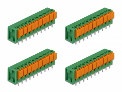 Terminalblock mit Drucktaster für Platine 10 Pin 5, 08 mm Rastermaß vertikal 4 Stück, Delock® [66273]