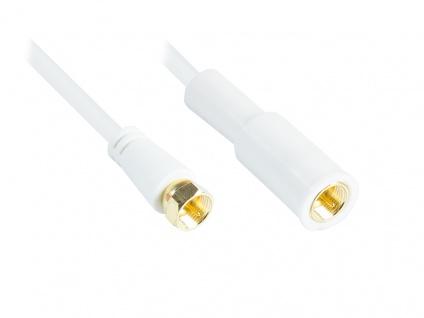 kabelmeister® Flaches SAT Antennenkabel, F-Stecker beidseitig (vergoldet), 2x geschirmt (80 dB / 75 Ohm), CU, einseitig Wetterschutz, weiß, 5m