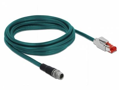 Netzwerkkabel M12 8 Pin X-kodiert an RJ45 Stecker PVC, wasserblau, 3 m, Delock® [85427]