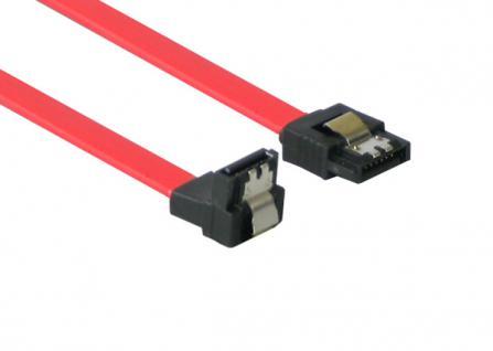 SATA 3 Gb/s Anschlusskabel, mit Arretierung, nach unten abgewinkelt, 0, 5m, Good Connections®