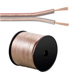 kabelmeister® Lautsprecherkabel 100 m Spule, 2 x 0, 75 mm², transparent