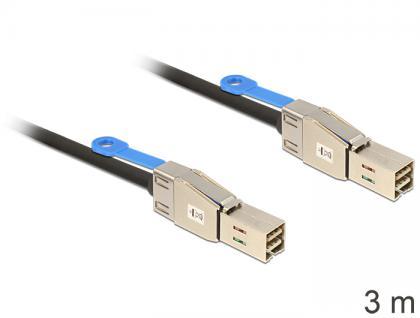 SAS Kabel HD x 4 SFF 8644 Stecker auf Mini SAS HD x 4 SFF 8644 Stecker, 3m, Delock® [83396]