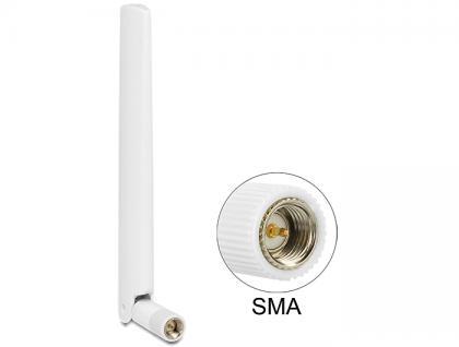LTE Antenne SMA 1 ~ 2, 5 dBi omnidirektional mit Kippgelenk weiß, Delock® [88790]
