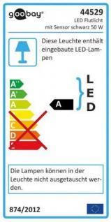 LED Außen-Flutlichtstrahler mit Bewegungsmelder, 50W, 230V, 4200 lm, 6500K, (kaltweiß), nicht dimmbar, A