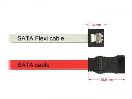 Kabel SATA FLEXI 6 Gb/s 10 cm weiß Metall, Delock® [83830]