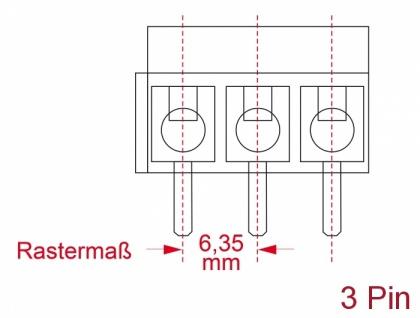 Terminalblock für, Platine, Lötversion, 3-Pin, 6, 35mm, Rastermaß vertikal, 10 Stück, Delock® [66020]