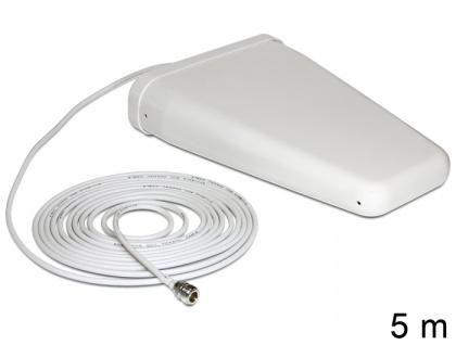 LTE Band 20/1/3/7 Antenne N Buchse 8 ~ 9 dBi 5 m RG-58 direktional weiß outdoor, Delock® [88808]