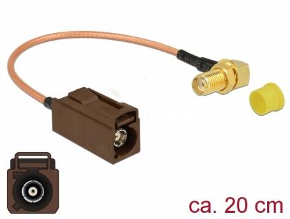 Antennenkabel FAKRA F Buchse > SMA 90____deg; Buchse zum Einbau RG-316 20 cm, Delock® [89684]